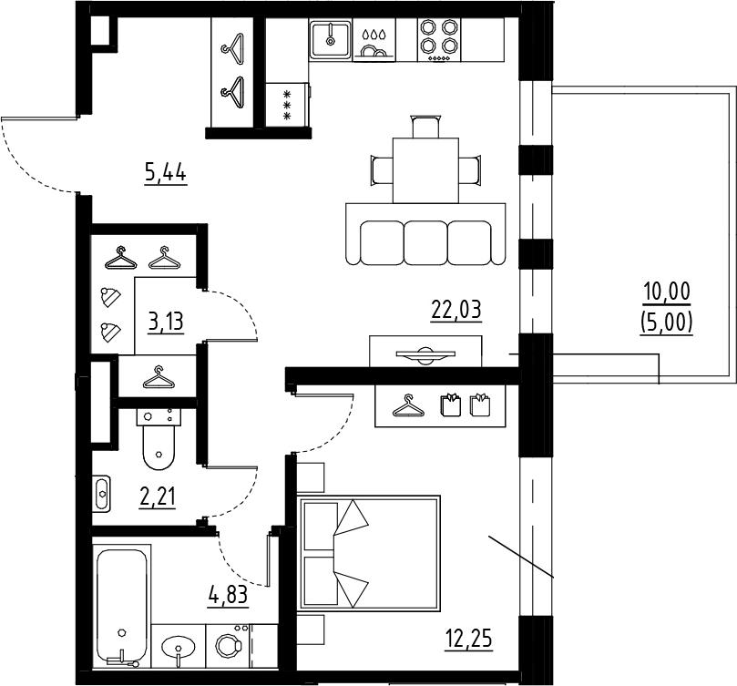 2Е-комнатная, 49.89 м²– 2