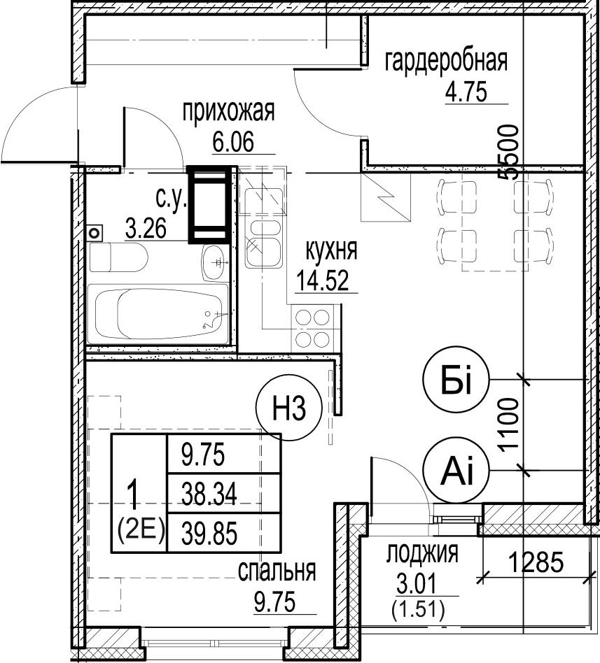 2Е-комнатная, 39.85 м²– 2