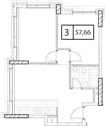 Своб. план., 57.66 м²
