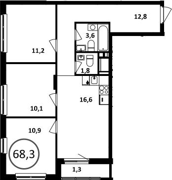 4Е-комнатная, 68.3 м²– 2