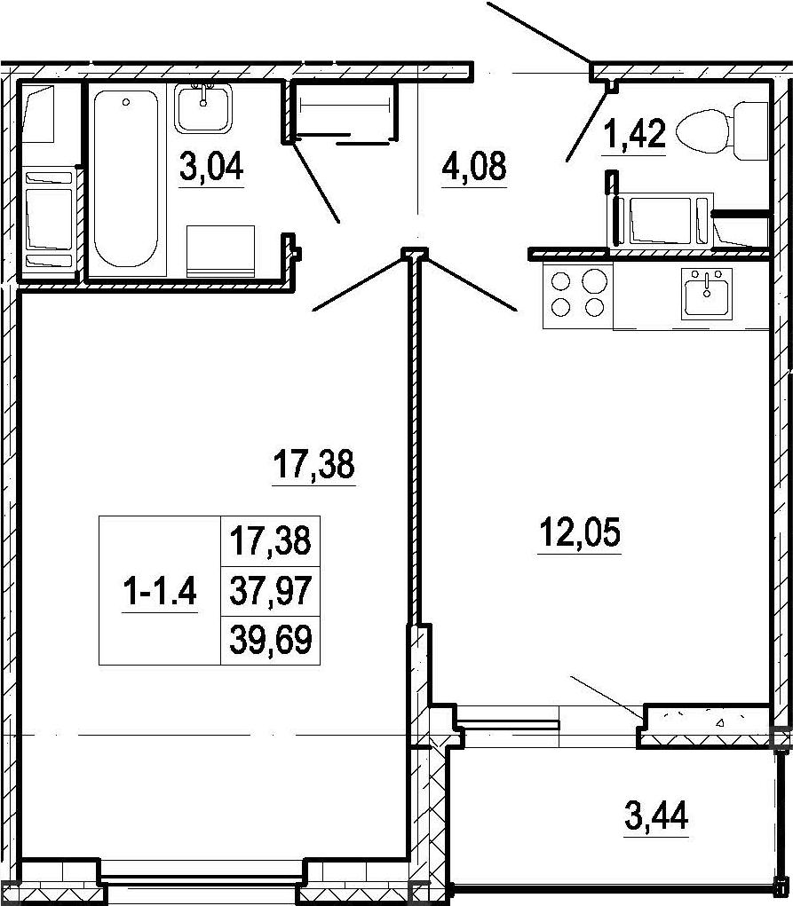 1-к.кв, 37.97 м²