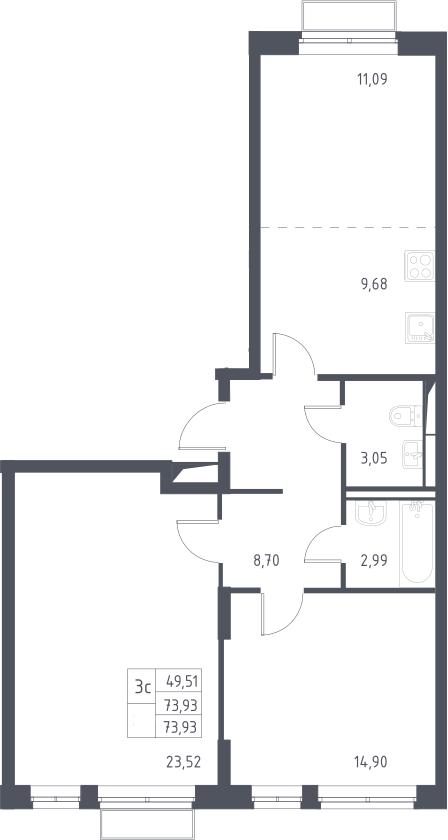 3Е-к.кв, 73.93 м²