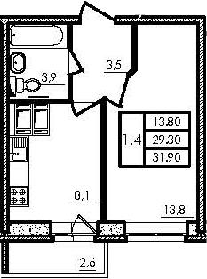 1-к.кв, 29.3 м², 22 этаж