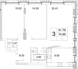 3-к.кв, 74.95 м²