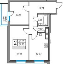 2-к.кв, 54.72 м²