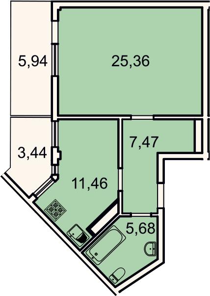 1-комнатная, 52.8 м²– 2
