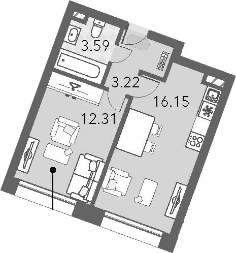 2Е-к.кв, 35.27 м², 8 этаж