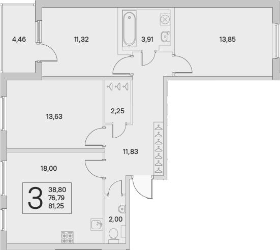 4Е-комнатная, 79.02 м²– 2