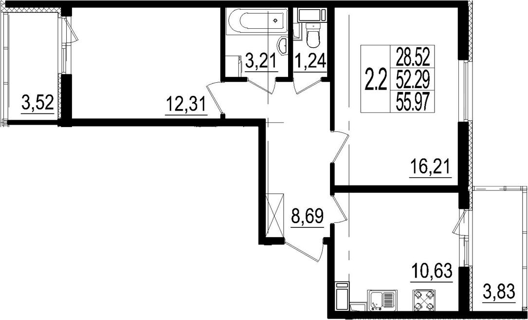 2-комнатная, 52.29 м²– 2