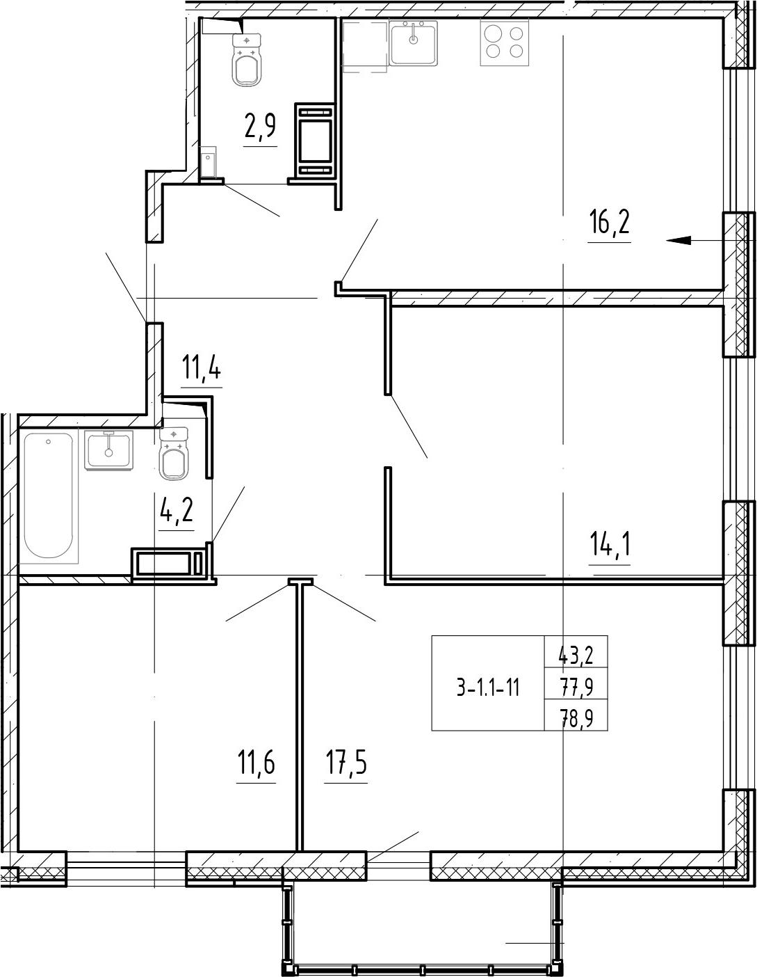 3-комнатная, 78.9 м²– 2