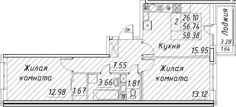 3Е-к.кв, 58.38 м²
