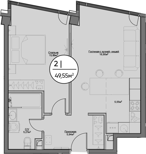 2Е-комнатная, 49.55 м²– 2