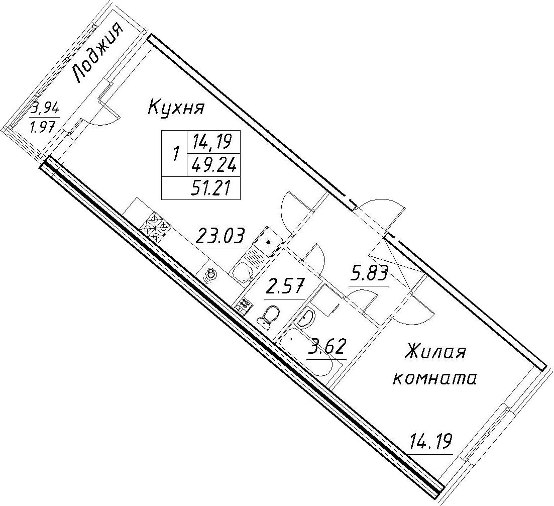 2-к.кв (евро), 53.18 м²