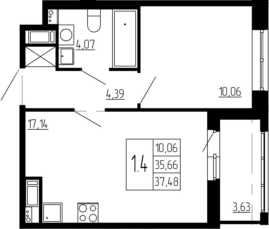 2Е-к.кв, 35.66 м², 4 этаж