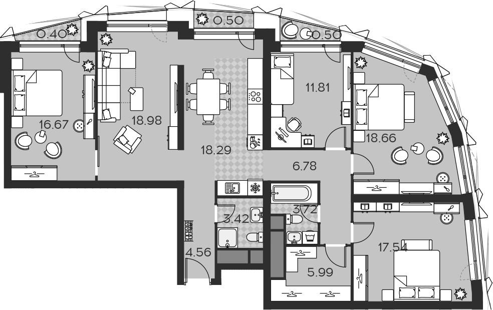 5Е-комнатная, 127.82 м²– 2