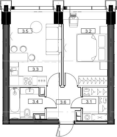 2Е-комнатная, 41.8 м²– 2