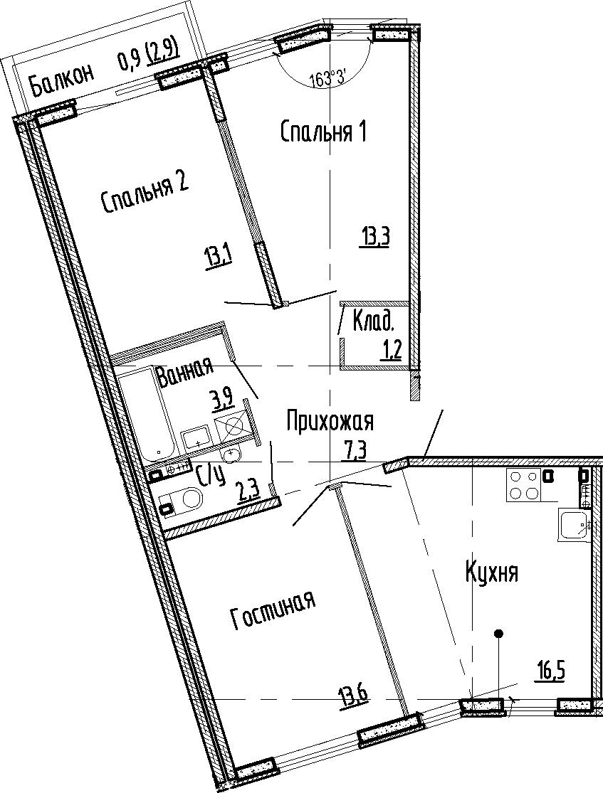 4-к.кв (евро), 74.1 м²