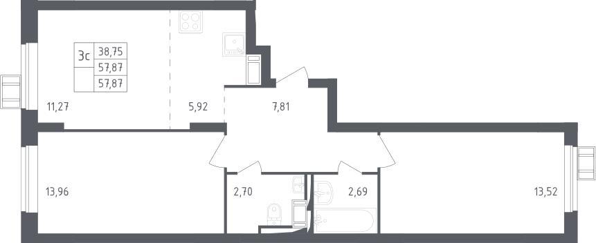 3Е-к.кв, 57.87 м², 13 этаж