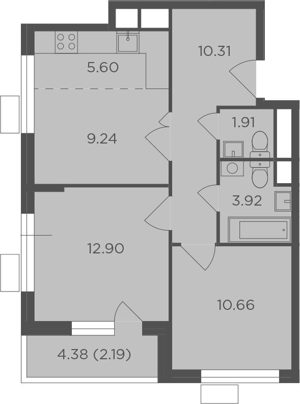 3Е-комнатная, 56.73 м²– 2