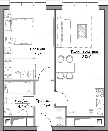 2Е-комнатная, 45.7 м²– 2