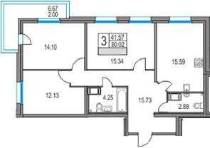 4Е-комнатная, 80.02 м²– 2
