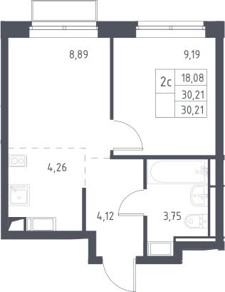 2Е-комнатная, 30.21 м²– 2