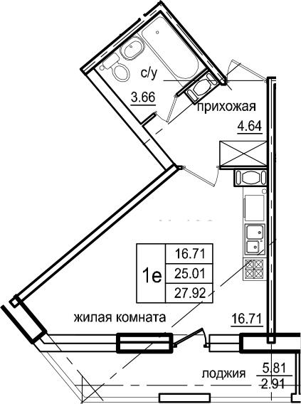 Студия, 27.92 м², 3 этаж – Планировка