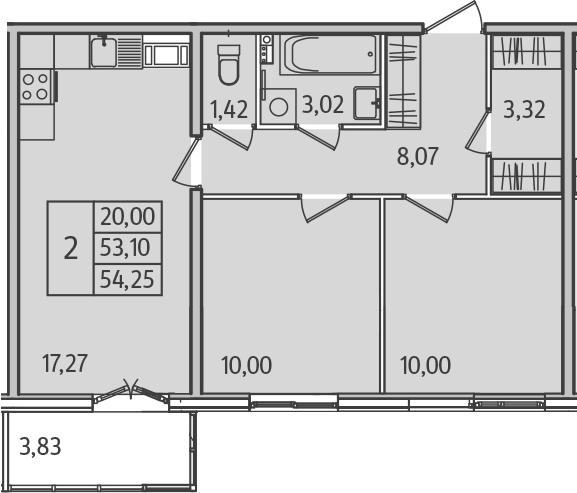 3Е-комнатная, 54.18 м²– 2