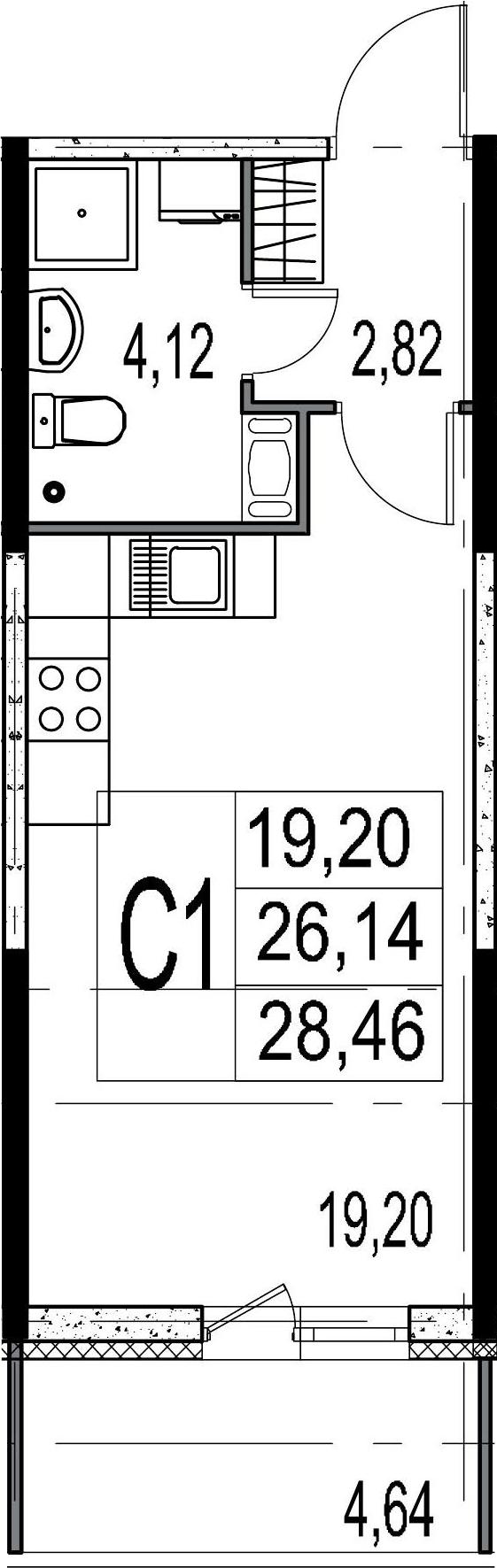 Студия, 26.14 м²