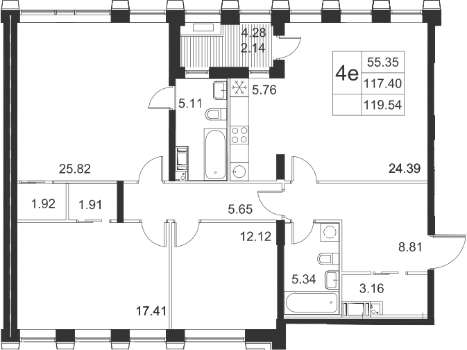 4Е-комнатная, 119.54 м²– 2
