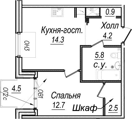 1-к.кв, 48.45 м²
