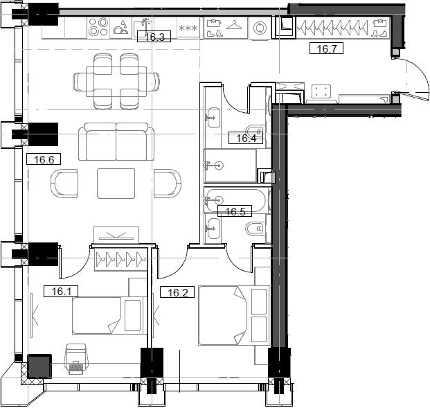 3Е-комнатная, 63.84 м²– 2