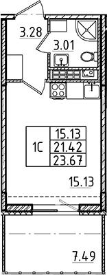 Студия, 21.42 м²– 2