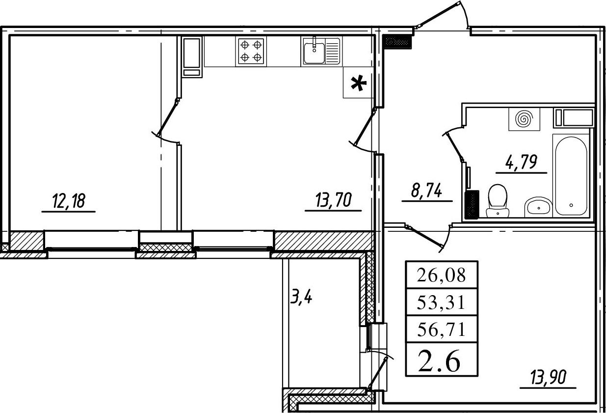 2-к.кв, 56.71 м²