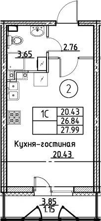 Студия, 27.99 м²