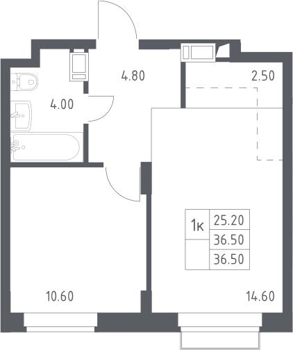 2Е-к.кв, 36.5 м², 14 этаж
