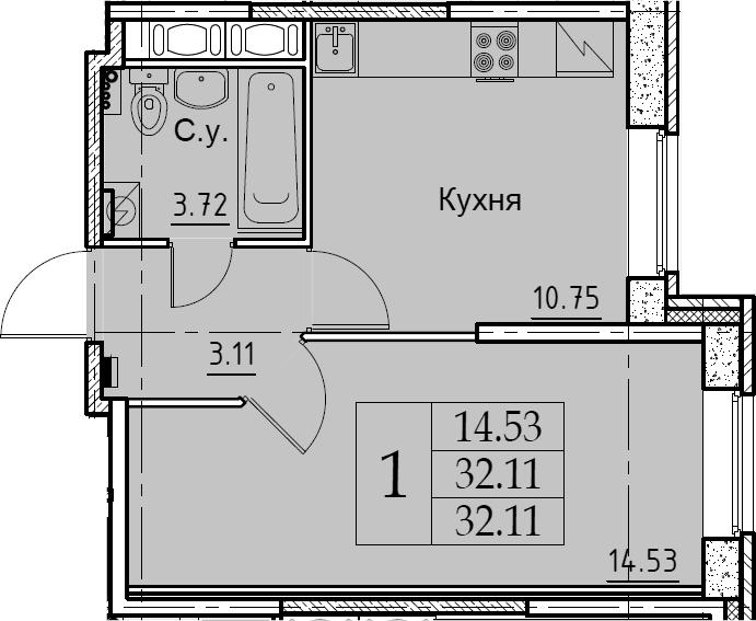 1-к.кв, 32.11 м², 1 этаж