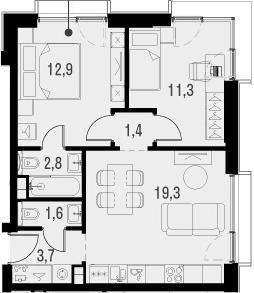 3Е-к.кв, 53 м², 14 этаж