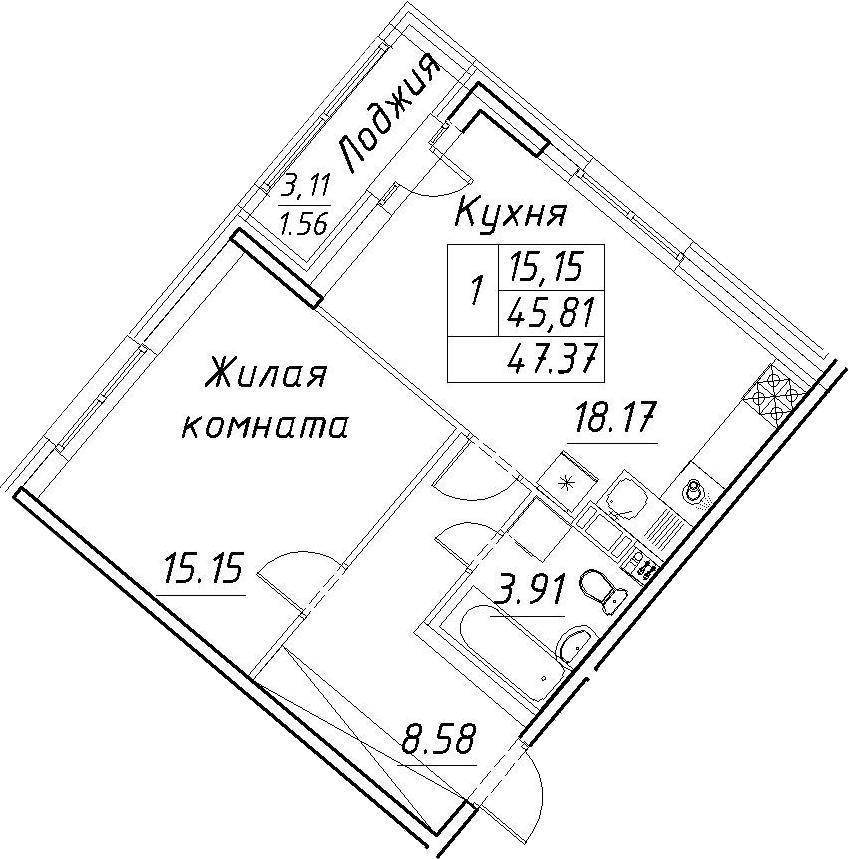 2-к.кв (евро), 48.93 м²
