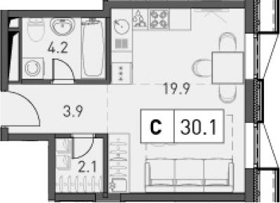 Студия, 30.1 м²– 2