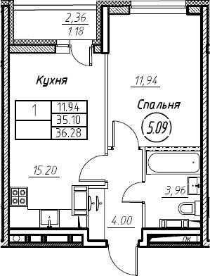 2Е-к.кв, 36.28 м², 6 этаж