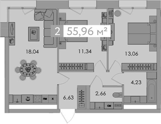 3-к.кв (евро), 55.96 м²