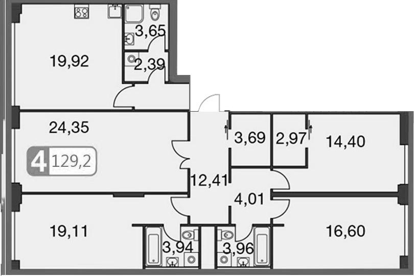 5Е-комнатная, 129.28 м²– 2