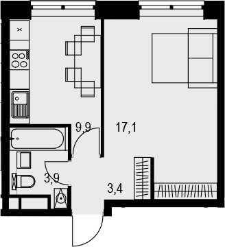 1-к.кв, 34.3 м², 11 этаж