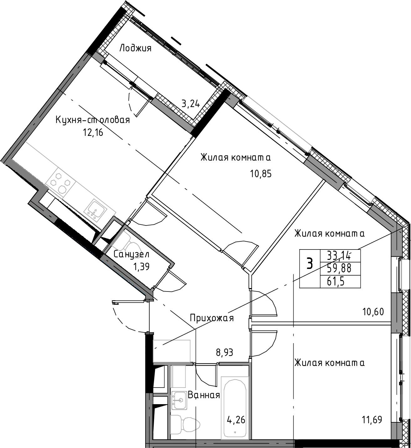 3-комнатная квартира, 61.5 м², 11 этаж – Планировка