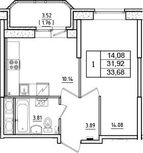 1-комнатная, 33.68 м²– 2