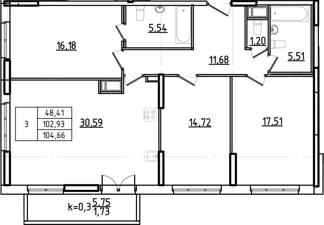 4Е-комнатная, 104.66 м²– 2