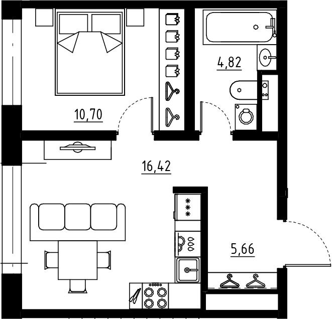 2Е-к.кв, 37.6 м², от 4 этажа