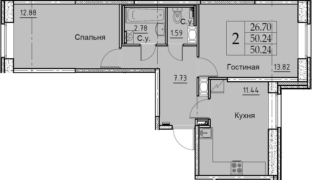 2-к.кв, 50.24 м², 1 этаж