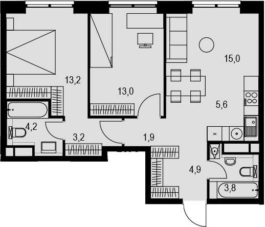 3Е-к.кв, 64.8 м², 20 этаж
